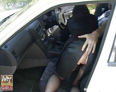Car public upskirt